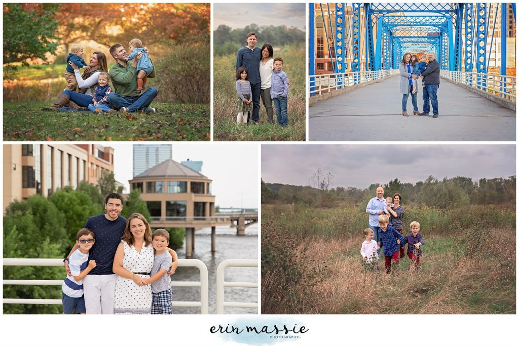 Erin Massie Photography collage of family portraits in outdoor locations near Grand Rapids