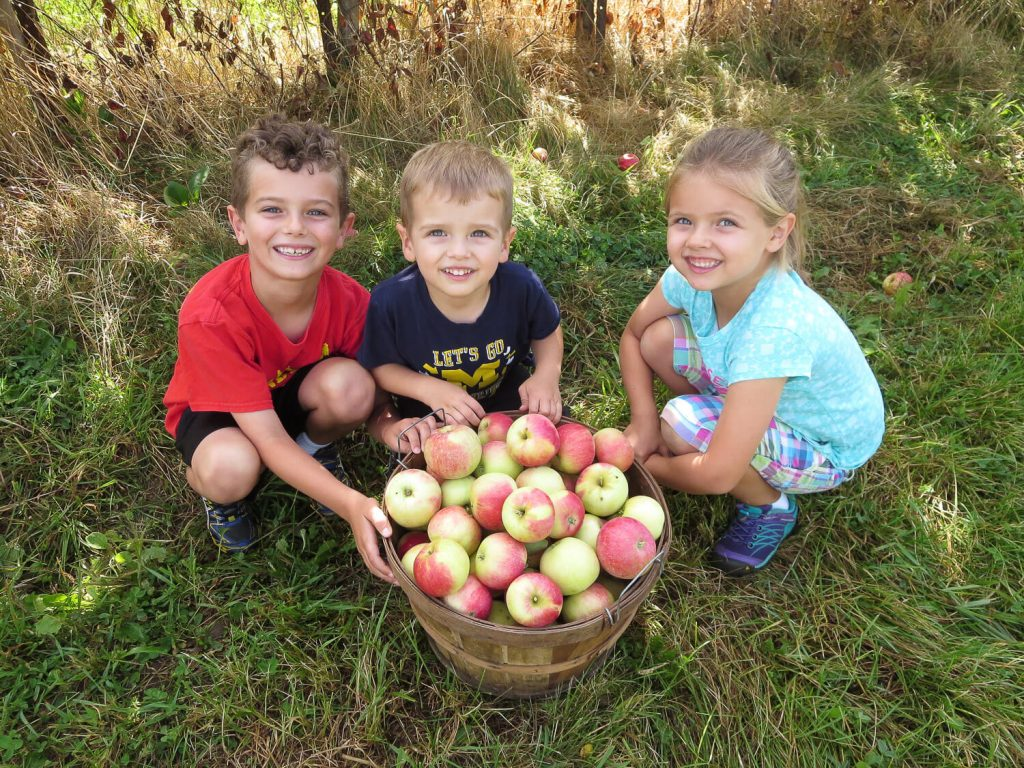 three young siblings crouching with a big basket of apples at Blok Orchard