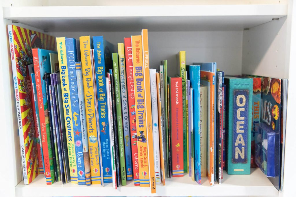 Close up of young boy's books about trucks, space and ocean animals