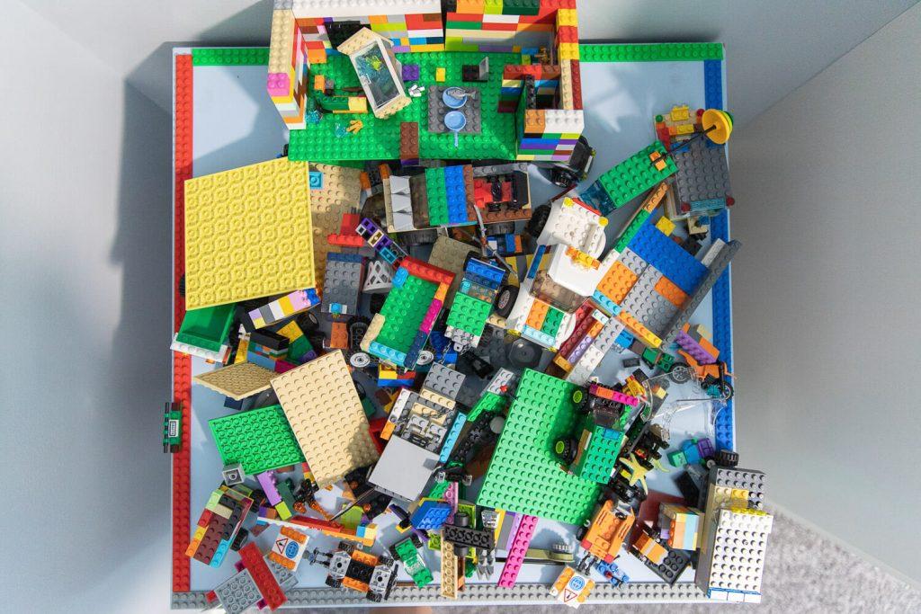 birdseye view of Lego table in boy's bedroom