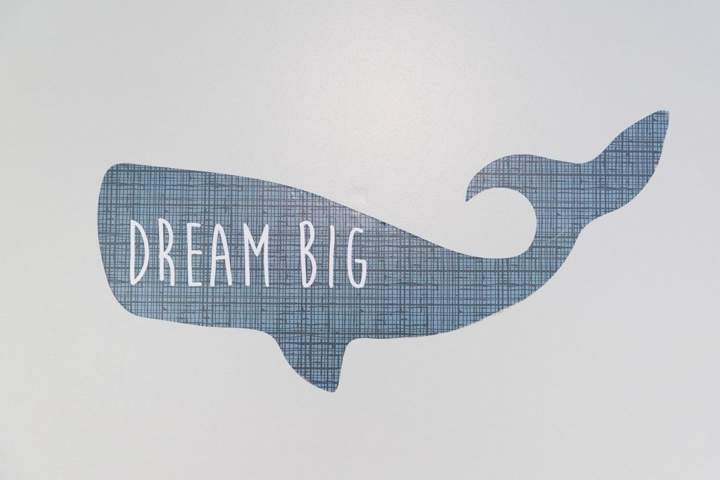 """whale wall decal that says """"dream big"""""""