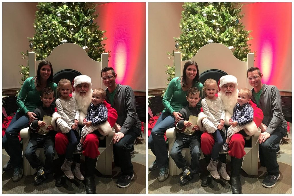 comparison collage of two photos with a family of 5 huddled with Santa in a big chair in front of a Christmas tree